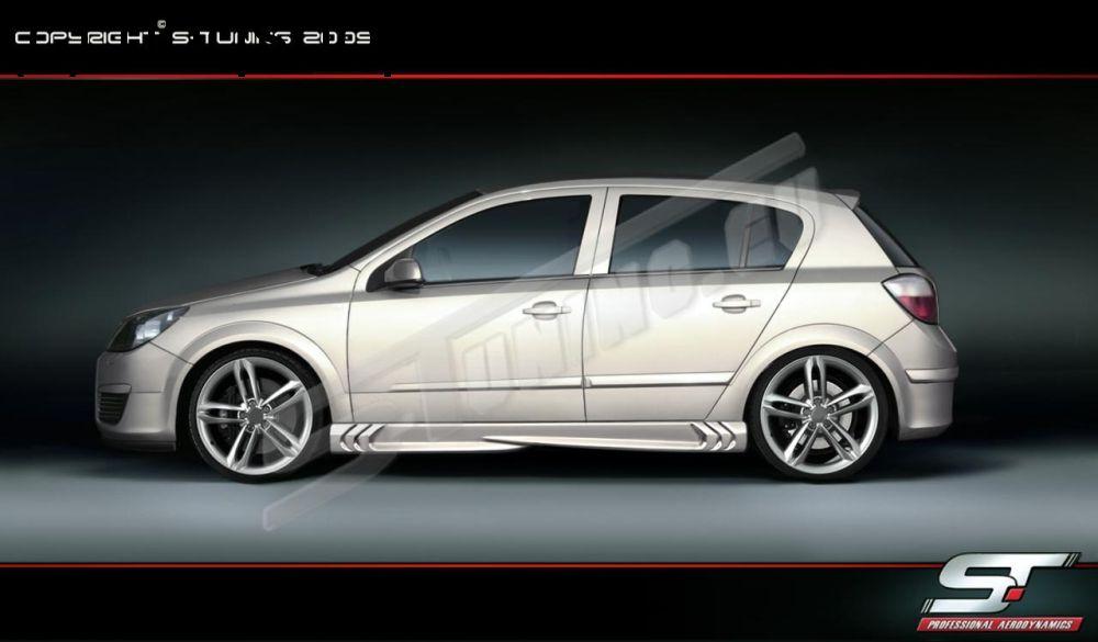 Side skirts (S-Power) Vauxhall/Opel Astra Mk5/H/III